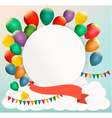 Retro birthday background with colorful balloons vector image