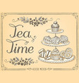 retro time for tea with sweet pastries and vector image