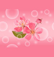 seamless pattern with pink blossoming cherry vector image vector image