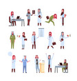 set arab doctors different poses working process vector image
