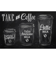 Set of Coffee drinking cup sizes chalk vector image vector image