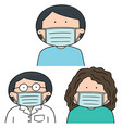 set of medical protective mask vector image vector image