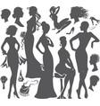 silhouette of beautiful ledi in elegant dresses vector image