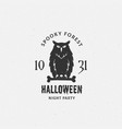 spooky forest halloween label emblem or vector image vector image