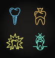 stomatological procedures icon set in neon line vector image vector image