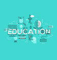 thin line flat design banner of education web page vector image vector image