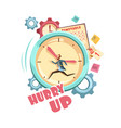 time control retro cartoon design vector image vector image