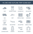 trip icons vector image vector image