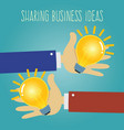 two hands sharing business ideas vector image