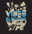 video blogging poster design with isolated vector image