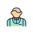 waiter bartender sommelier flat color line icon vector image