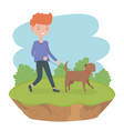 young man with cute little dog mascot in field vector image
