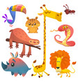 cartoon african funny animals set vector image
