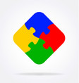 4 simple puzzle pieces connected together vector image