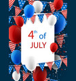 4th july card with balloons vector image vector image