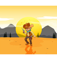 A desert with an armed cowboy vector image vector image