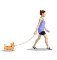 a woman in her home clothes walks a dog vector image