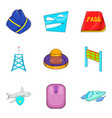 air transport icons set cartoon style vector image vector image