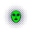alien green head icon comics style vector image