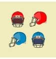 american football red blue helmets front side view vector image vector image