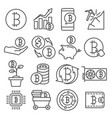 bitcoin line icons set on white background vector image vector image