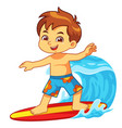 boy surfing with his surfboard vector image vector image