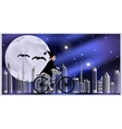 Cards for Halloween Witch riding a bicycle vector image