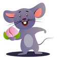cartoon chinese mouse holding flower on white vector image vector image