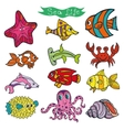 Cartoon Funny Fish Sea Life Colored Doodle vector image vector image