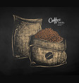 chalk drawn sketch two sacks with coffee vector image vector image