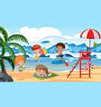 children having fun on beach scene vector image vector image