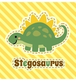 Cute cartoon smiling stegosaurus on striped yellow vector image vector image