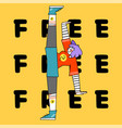 dance and free yourself teen girl concept doodle vector image vector image