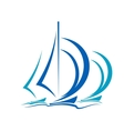 Dynamic motion of sailboats vector image vector image