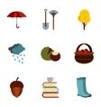 Falling leaves season icons set flat style vector image vector image