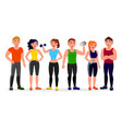 fitness people in flat design vector image vector image