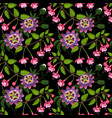 fuchsia and passiflora seamless pattern vector image vector image