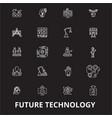future technology editable line icons set vector image