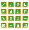 garbage thing icons set green vector image vector image