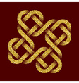 Golden glittering logo template in Celtic knots vector image vector image