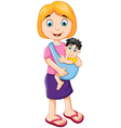 happy mother holding her baby child vector image vector image