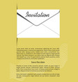 invitation template with mailing envelope 3d vector image vector image