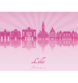 Lille skyline in purple radiant orchid vector image vector image