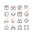 love and relationships line icon set isolated vector image