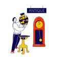 man visiting antique store flea market or garage