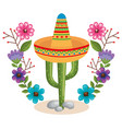 mexican culture cactus and hat vector image vector image