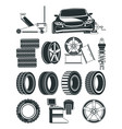 monochrome of tires service symbols vector image