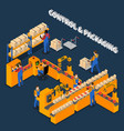 packaging factory isometric composition vector image vector image