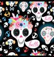 pattern funny skulls vector image vector image