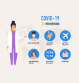 prevention covid-19 infographic poster vector image